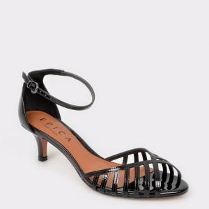 Sandale EPICA negre, 2272002, din piele ecologica lacuita