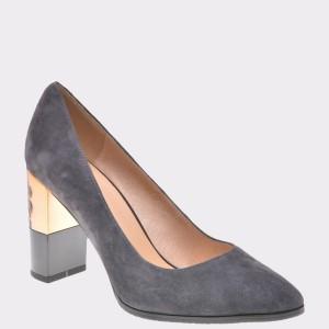 Pantofi Epica Gri, 2997505, Din Piele Intoarsa