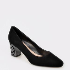 Pantofi EPICA negri, Bu001, din piele intoarsa