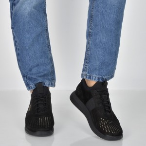 Pantofi sport HUGO BOSS negri, 7630, din nabuc