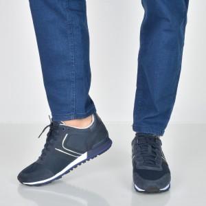 Pantofi sport HUGO BOSS bleumarin, 7133, din piele intoarsa si material textil