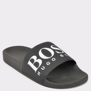 Papuci HUGO BOSS negri, 8496, din piele ecologica