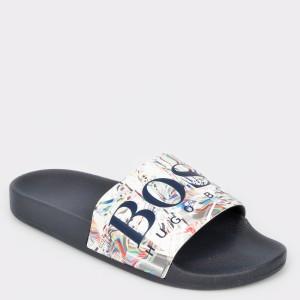 Papuci HUGO BOSS alb, 8496, din piele ecologica