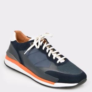 Pantofi sport HUGO BOSS bleumarin, 2346, din piele naturala si material textil