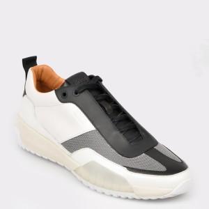 Pantofi sport HUGO BOSS alb-negri, 7528, din piele naturala