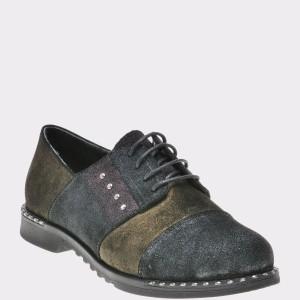 Pantofi Flavia Passini Kaki, 639270, Din Piele Intoarsa