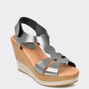 Sandale IMAGE argintii, 723300, din piele naturala