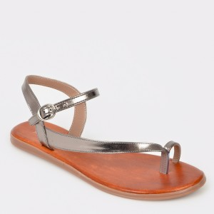 Sandale IMAGE gri, 10942, din piele naturala