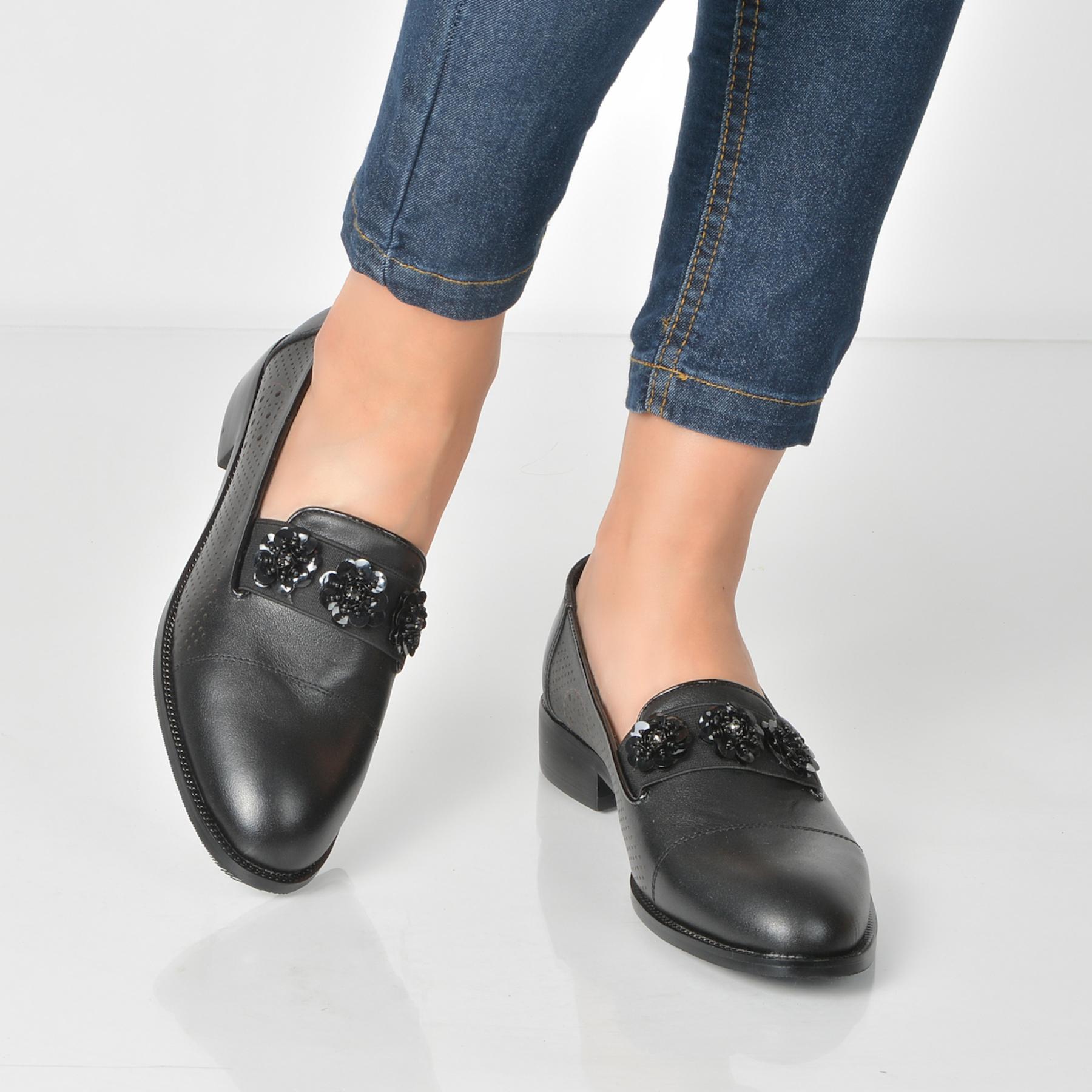 Pantofi Flavia Passini Negri, 617, Din Piele Naturala