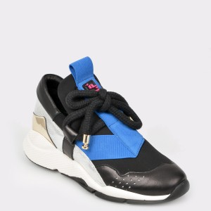 Pantofi sport FLAVIA PASSINI negri, 2045, din piele naturala si material textil