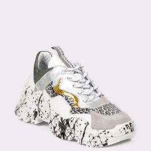Pantofi sport FLAVIA PASSINI alb-negri, 996, din piele naturala